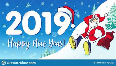 2019 Happy New Year Hipster Santa Card Design Stock Vector