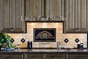 kitchen backsplash pictures ideas and designs of backsplashes With kitchen colors with white cabinets with metal fleur de lis wall art