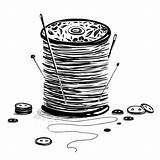 Thread Spool Needles Buttons Vector Illustration Sewing Reel Drawing Ink sketch template