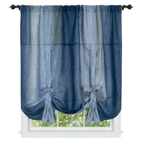 blue ombre curtains walmart achim blue ombre tie up shade curtain 50 in w x 63 in