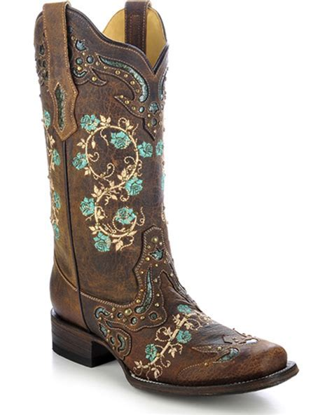 Corral Women's Studded Floral Embroidery Cowgirl Boots