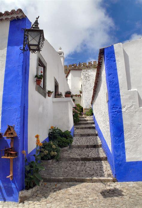 stone paved stairway street  obidos leiria portugal