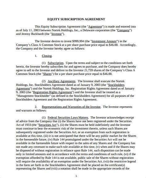 subscription agreement templates  word apple