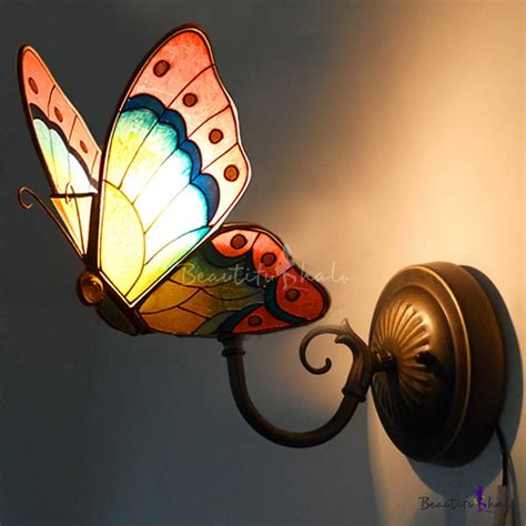 stained glass style butterfly shape wall sconce 6