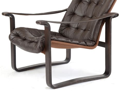 modern high back leather lounge chair by dahlqvist