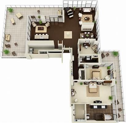Floor 3d Plan Apartment Residential Floorplan Lofts