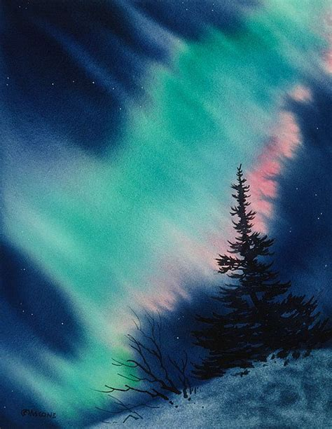 light   dark  night watercolor landscape