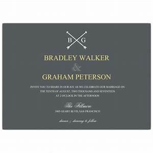 Arrow monogram gay men wedding invitations paperstyle for Gay wedding shower invitations