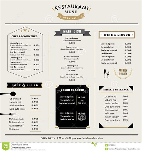 restaurant menu design template layout  icons  emblem