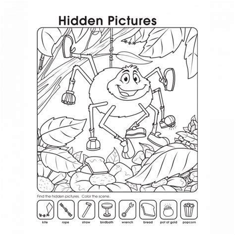 printable pictures worksheets activity shelter 676 | hidden pictures worksheets spider