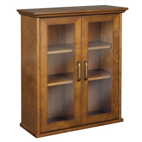 Wood Bathroom Wall Cabinets by Wooden Wall Cabinet Glass Doors Hanging Adjustable Shelves