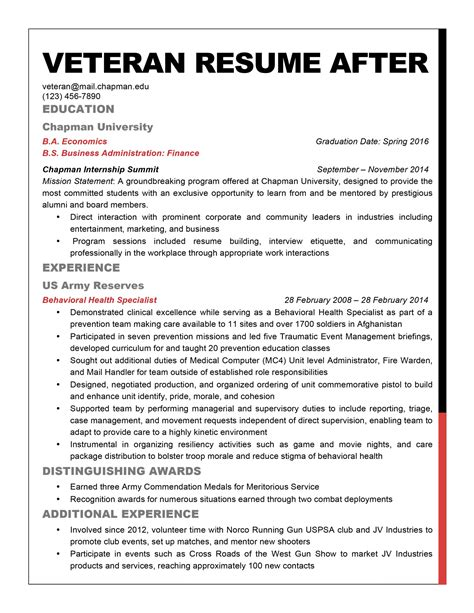 Federal Resume Writing Services For Veterans by Veteran Resume Template Resume Cover Letter Template