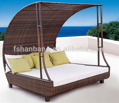 size corner lounge bed outdoor patio wicker rattan sunbed daybed furniture