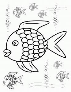 Rainbow Fish Outline - Coloring Home