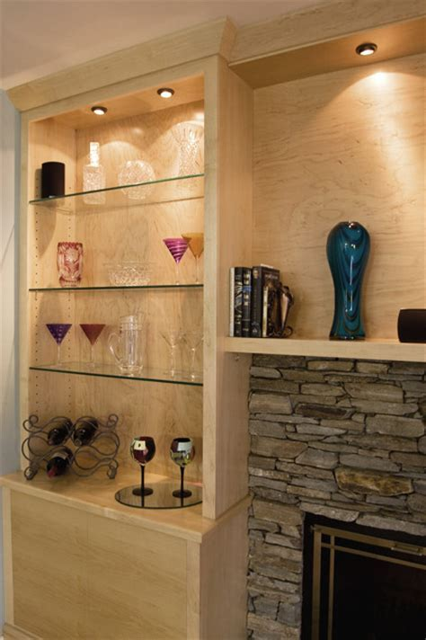 Maple Media Cabinet Built Around Stone Fireplace