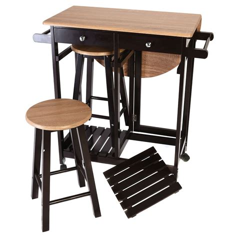 kitchen cart bar table 3pcs kitchen island set with drop leaf table 2 stools wood