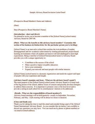 sample advisory board invitation letteremail