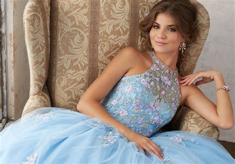 embroidery  beading   tulle ballgown style