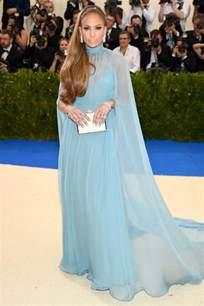 Sage Green Carpet by Jennifer Lopez Caped Blue Evening Dress 2017 Met Gala