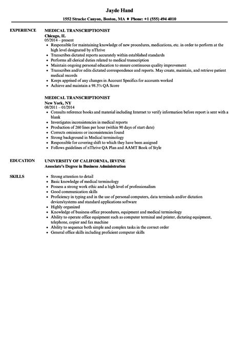 transcriptionist resume resume ideas