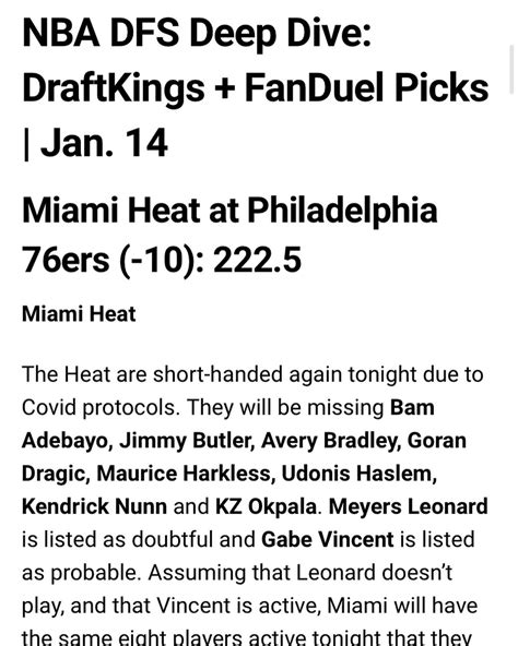 Awesemo.com - #NBA #DFS Deep Dive for #DraftKings and ...