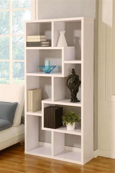 White Backless Bookcase by Enitial Lab Modern Backless Display Stand