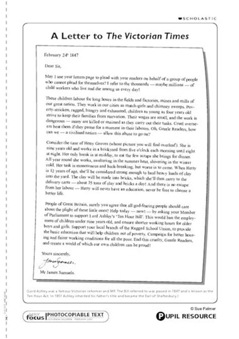 letter   victorian times primary ks teaching