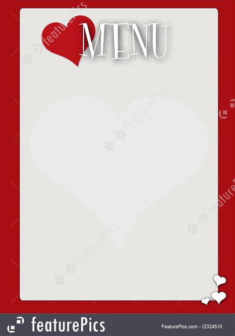 retro style blank valentines menu illustration