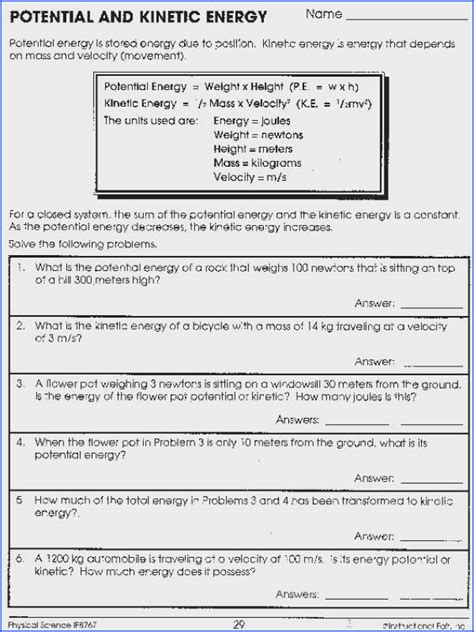 conservation of energy worksheet answers mychaume
