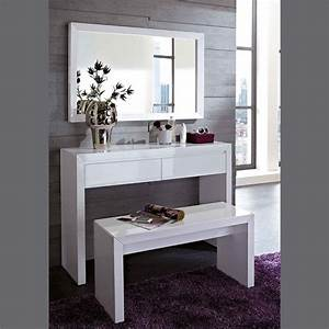 meuble commode d39entree coiffeuse blanc laque design With meuble entree laque blanc