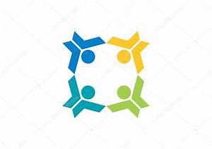 팀웍 교육 로고, 일러스트 레이 션 팀, 일 하는 소셜 네트워크 연결 사람들 — 스톡 벡터 ...