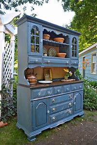 Heir, And, Space, A, Vintage, Maple, Hutch, In, Blue, And, Cream