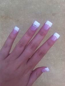 White tip nails with little diamonds   ♡ Nails ...