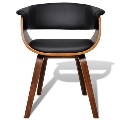 chaise cuir noir design 2 chaises de cuisine salon salle à manger design noir bois