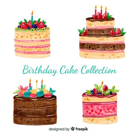 watercolor birthday cake collection   cake