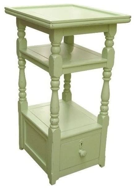 Green Nightstand Table by New Nightstand Green Painted Hardwood Traditional