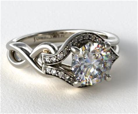 asymmetrical halo love knot engagement ring   white