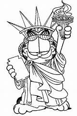 Liberty Statue Garfield Coloring Printable Drawing Sheets Adults Disney Odie Estatua Template Mistercoloring Donut Adult Cartoon Lasagna Libertad Sketches Mister sketch template