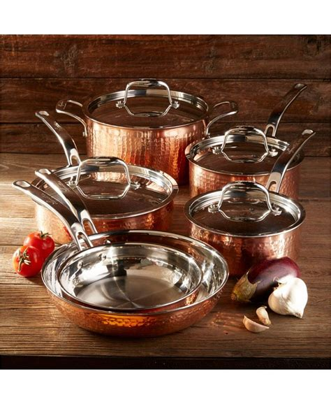lagostina martellata tri ply copper  pc cookware set macyscom cookware set eco friendly