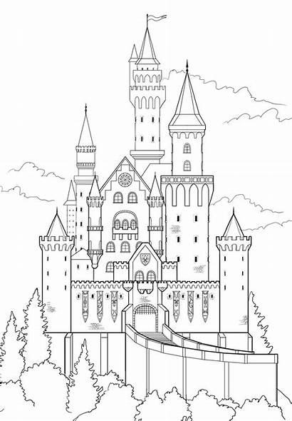 Castle Drawing Disney Draw Sketch Schloss Zeichnen