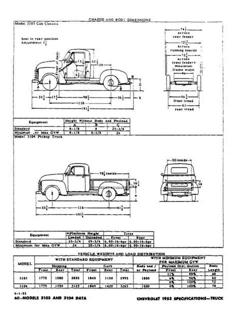 advance design chevrolet truck measurements classic