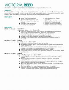 unforgettable restaurant server resume examples to stand With free resume templates for restaurant servers