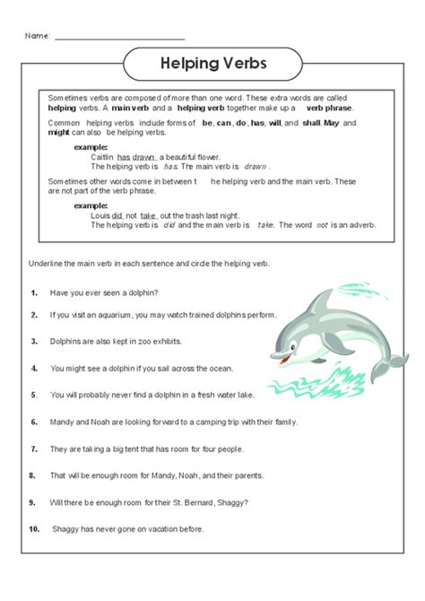 Helping Verbs Games 4th Grade  Helping Verbs Worksheet Third Grade K5 Learning Worksheets1000