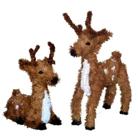 set   sitting standing reindeer christmas decorations