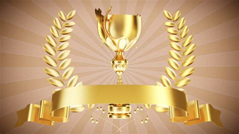 gold cup  laurel wreath stock footage video
