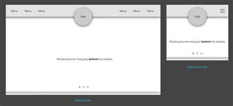 centered navigation bar template html floating logo over navigation bar with inner shadow