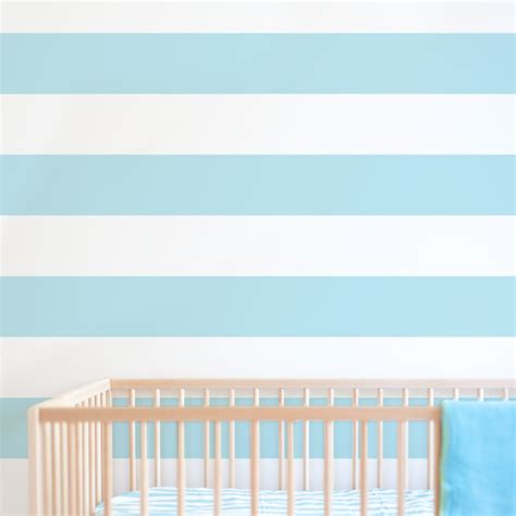 Aqua And Pink Nursery by Stripe Print Removable Wallpaper For Nursery