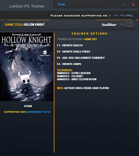 Hollow Knight Trainer 9 V1037 Lingon Download Cheats