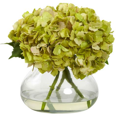 Flower Arrangements In A Vase by Large Green Blooming Silk Hydrangea Artificial Floral