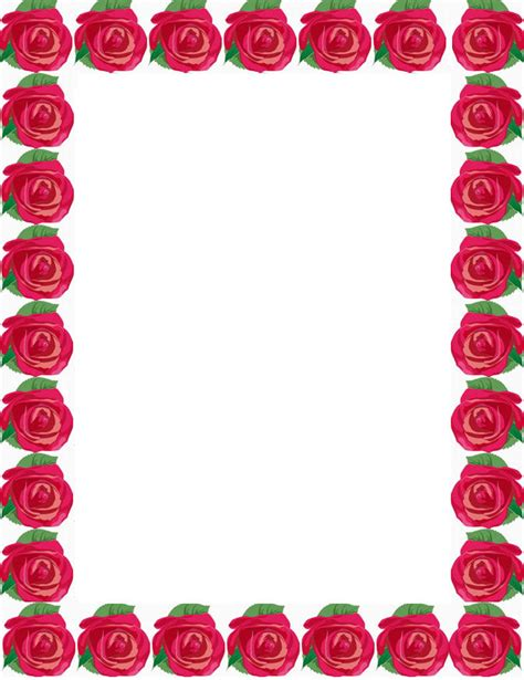 border of roses rose flower borders cliparts co